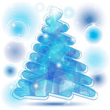 Scribble Christmas Tree in blue. With brilliant bubbles Stock Photos