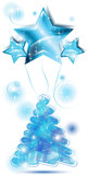 Scribble Christmas tree with stars balloons. Blue Scribble Christmas tree with stars balloons Royalty Free Stock Photos