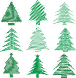 Scribble christmas trees Royalty Free Stock Photography