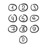 Scribble Circle Font Hand Drawn Numbers Black Isolated. Vector Vector Illustration