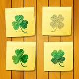 Scribble clover on sticky notes Royalty Free Stock Photos