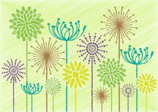 Scribble colorful flowers Royalty Free Stock Image