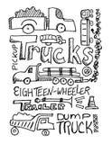Scribble dos caminhões Foto de Stock Royalty Free