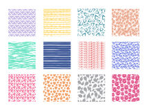 Scribble and dotted hand drawn vector seamless textures. Rough linear and wavy backgrounds set royalty free illustration