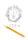 Scribble drawing of light bulb. Idea text and pencil Stock Photos