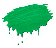 Scribble with drips. Uneven green paint scribble with drips isolated on white Stock Photos