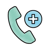 Scribble emergency call cartoon. Scribble emergency blue phone call cartoon vector graphic design Royalty Free Stock Photography