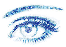 Scribble eye,. Blue eye sketch, hand drawn  scribble Royalty Free Stock Photo