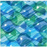 Scribble fish background. Colorful illustration with painted blue fish Royalty Free Stock Image
