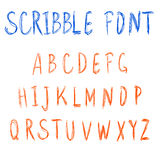 Scribble font. VECTOR blue and orange letters. Stock Photo