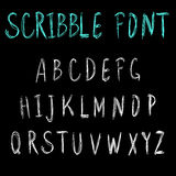 Scribble font. VECTOR light blue and white letters on black. Stock Photos