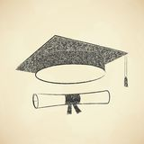 Scribble graduation cap and diploma Royalty Free Stock Images
