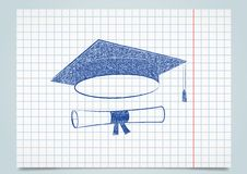 Scribble graduation cap and diploma Stock Images