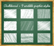 Scribble Graphic Styles. Scribble chalk graphic styles with chalkboard Stock Photos