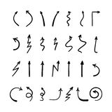 Scribble hand-drawn arrows vector design set. Felt-tip pen Vector Illustration