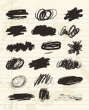 Scribble hand drawn in brush. Charcoal chalk texture Royalty Free Stock Image