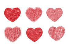 Scribble hearts. Set of six scribble heart icons,  illustration Royalty Free Stock Photos