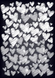 Scribble hearts on chalkboard Royalty Free Stock Photo