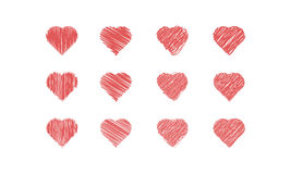 Scribble Hearts Icon Set. Collection of 12 heart icons with scribble effect. Also available in .eps Stock Images