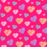 Scribble hearts pattern Royalty Free Stock Photo