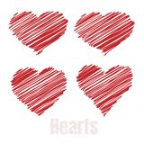 Scribble hearts, Red drawings hearts, vector illustration.  Royalty Free Stock Image