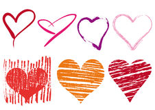 Scribble hearts set, vector Stock Photography