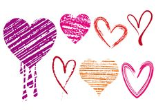 Scribble hearts, vector. Set of doodle hearts with grungy texture Stock Images