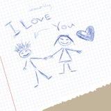 Scribble i love you Stock Photos