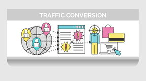 Scribble illustration for web traffic conversion Royalty Free Stock Photo