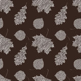 Scribble leaves seamless autumn pattern. Royalty Free Stock Image