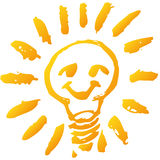 Scribble with lightbulb. Scribble with a happy light bulb Royalty Free Stock Images
