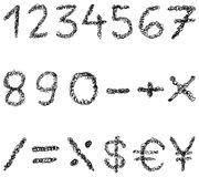 Scribble numbers. Set of scribbled numbers and math signs Royalty Free Stock Images