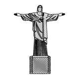 Scribble redeemer christ statue Royalty Free Stock Image