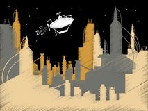 Scribble Science Fiction City Flying Blimp Vector Stock Photos