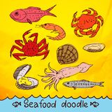 Scribble series  seafood vector set Royalty Free Stock Image