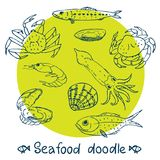 Scribble series  seafood vector set Royalty Free Stock Photos