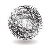 Scribble single. Round scribble icon with drop shadow in black and white vector illustration