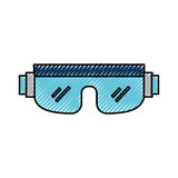 Scribble snowboard protective glasses. Cartoon vector graphic design Stock Images
