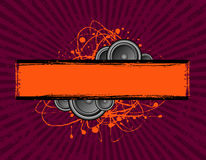 Scribble speaker banner. Vector illustration of speakers set behind a grunge text banner Stock Photos