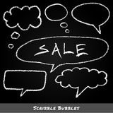 Scribble speech and thought bubbles in chalk Stock Photos