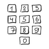 Scribble Square Font Hand Drawn Numbers Black Isolated. Vector Stock Illustration