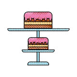 Scribble stand birthday cake cartoon Royalty Free Stock Photography