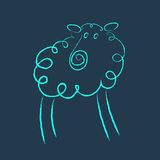 Scribble style blue sheep Royalty Free Stock Images