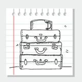 Scribble suitcases. On paper  ,  illustration Royalty Free Stock Photo
