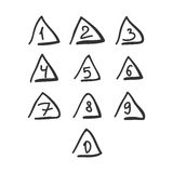 Scribble Triangle Font Hand Drawn Numbers Black Isolated. Vector Vector Illustration