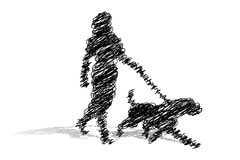 Scribble Woman Walking Dog Royalty Free Stock Image