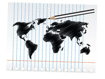 Scribble World Map Royalty Free Stock Images