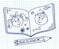 Scribble in a writing-book. Boy and girl. Stock Photo