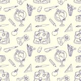 Scribble in a writing-books seamless pattern. Stock Image