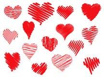 scribbled сердца Стоковые Фото